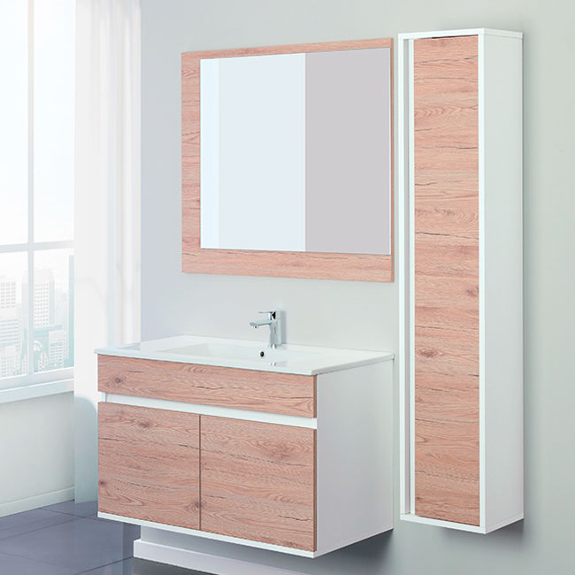 Feridras Arredo Bagno Suspended bathroom 90 cm composition 2 doors with sink, mirror and hanging column Fabula 90