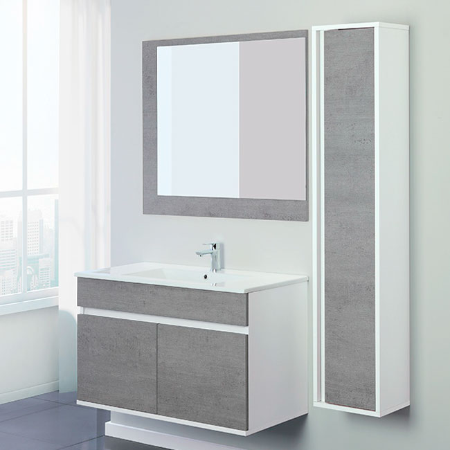 Feridras Arredo Bagno CSuspended bathroom 90 cm composition 2 doors with sink, mirror and hanging column Fabula 90