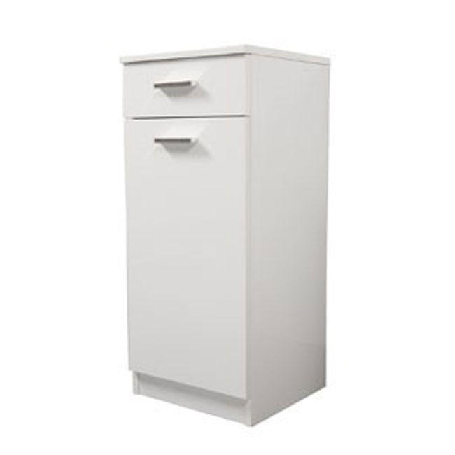 Single base left Classica L 35 cm with door, drawer, shelves and laundry basket Savini