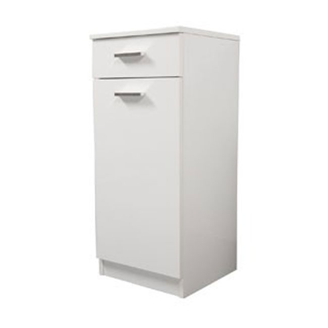Single base left Classica L 35 cm in MDF with door, drawer, shelves and laundry basket Savini