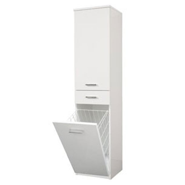 Single column left Classica L 34 cm in MDF with doors, drawer, shelves and laundry basket Savini
