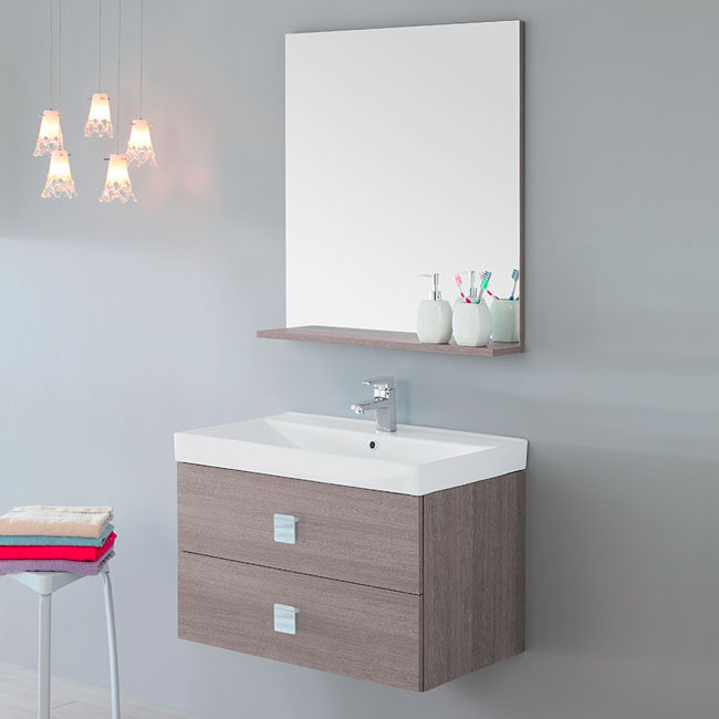 Feridras Arredo Bagno Suspended bathroom composition 75 cm with sink and mirror with shelf Bravo 75 L 75 cm