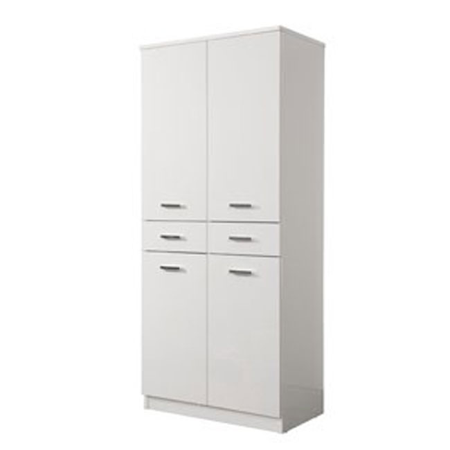 Double column Classica L 69 cm in MDF with doors, drawer, shelves and laundry basket Savini