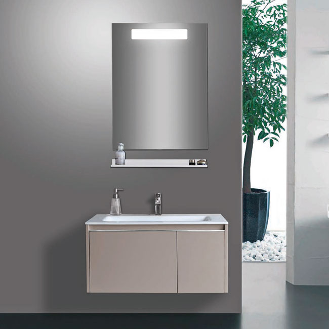 Tomasucci Composition Suspended bathroom with sink, mirror and shelf
