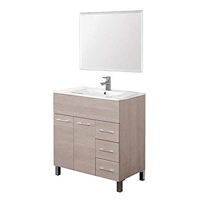 Feridras Arredo Bagno Suspended bathroom composition with sink and mirror Mondo L 81 cm