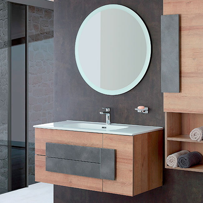 Composition 100 Mobile suspended bathroom L 100 cm two drawers and a door, with Urban Feridras sink and mirror