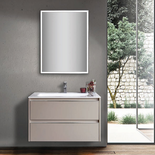 Tomasucci Composition Suspended bathroom with sink and mirror with light