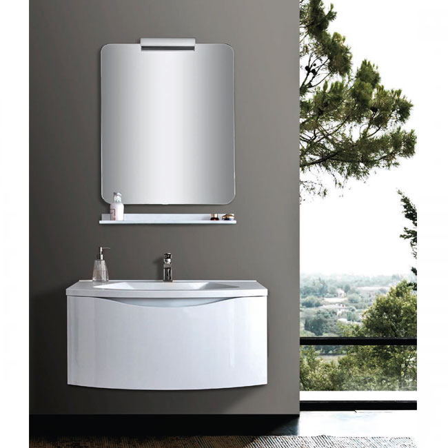 Tomasucci Composition Suspended bathroom with sink, mirror with light and shelf