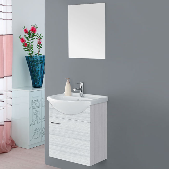 Feridras Arredo Bagno Bathroom composition 56 cm suspended 1 door with sink and mirror Stella L 56 cm