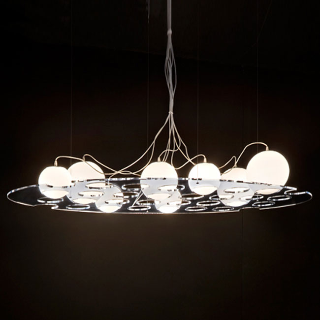 OLuce suspension lamp Plateau 8 luci E14 L 120 cm