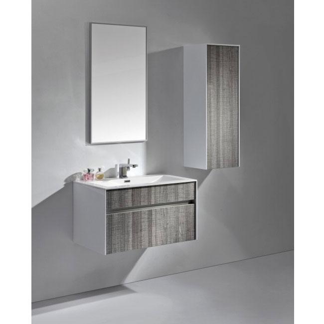 Tomasucci Composition Suspended bathroom with sink, mirror, column