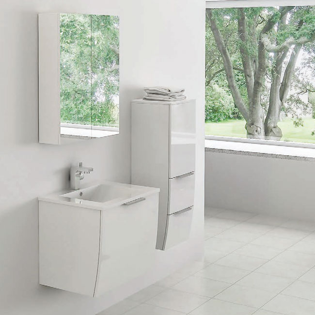 Tomasucci Composition Suspended bathroom with washbasin, storage mirror and hanging column