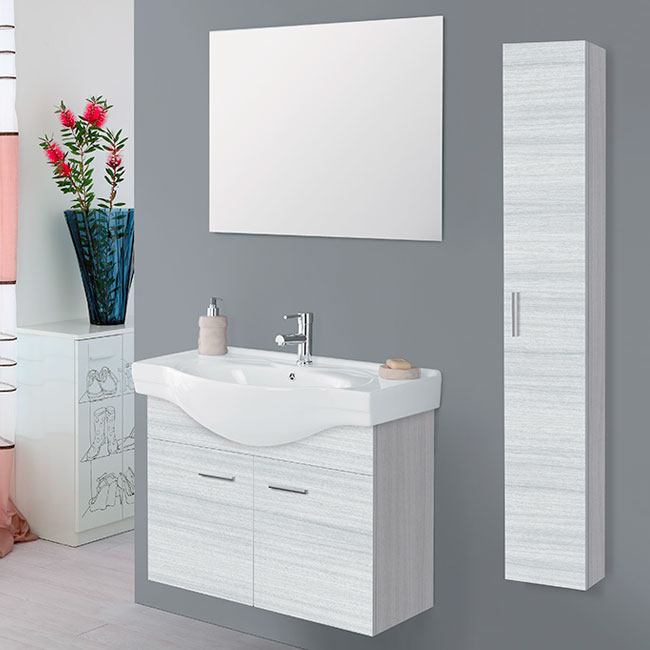 Feridras Arredo Bagno Suspended bathroom composition 80 cm 2 doors with sink, mirror and hanging column Stella