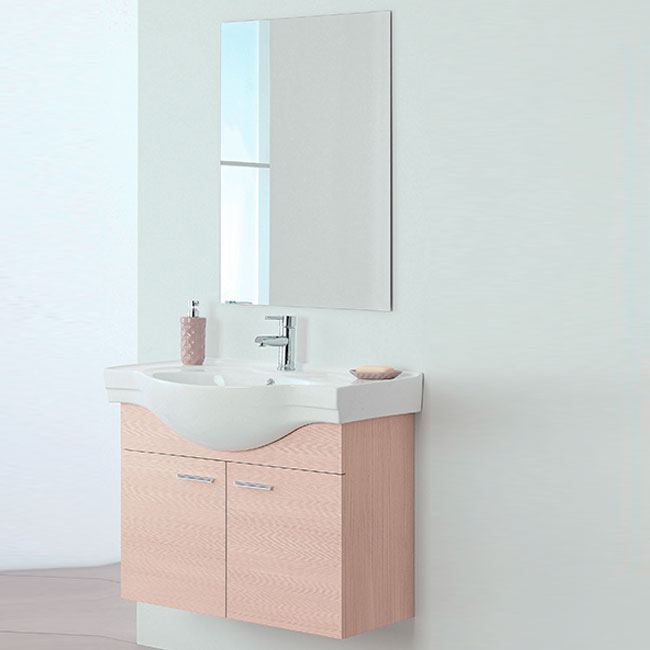 Bathroom composition Wall cabinet W 80 cm 2 doors with sink and mirror Stella Feridras Larch