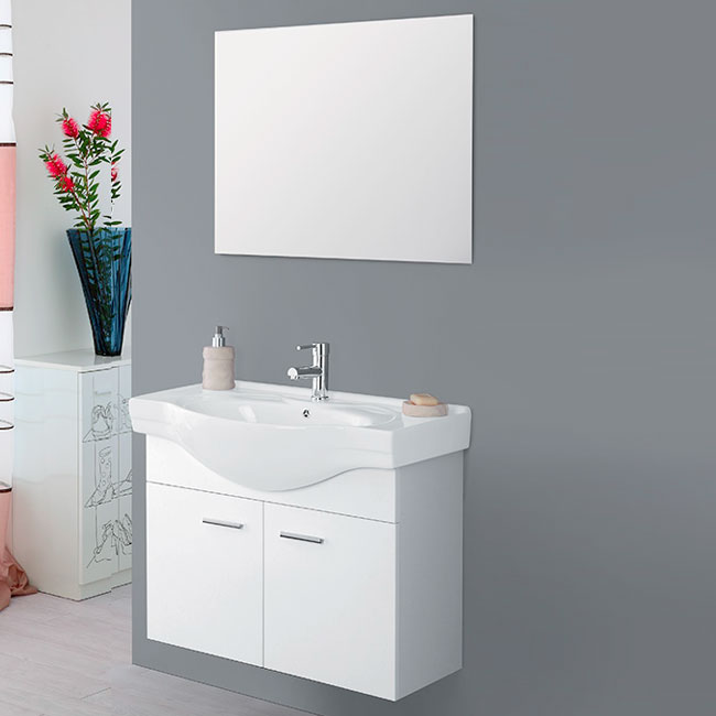 Composition Bathroom Wall cabinet W 80 cm 2 doors with sink and mirror Stella Feridras White gloss