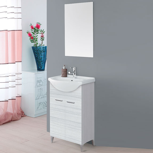Feridras Arredo Bagno Bathroom composition 56 cm from the floor 2 doors with sink and mirror Stella L 56 cm