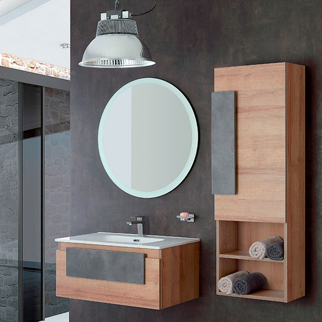 Feridras Arredo Bagno Suspended bathroom composition 80 cm with sink, mirror and hanging column Urban