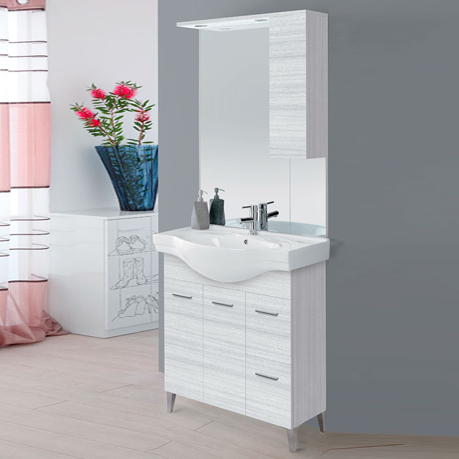 Feridras Arredo Bagno Bathroom composition 80 cm from the floor with sink and mirror with wall unit Stella L 80 x H 86 cm