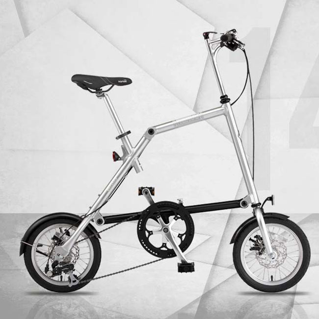 Nanoo FB 14'' Brushed aluminum folding bike in 10 seconds