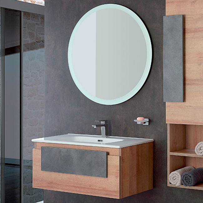Composition Bathroom cabinet suspended 80 cm L one drawer with Urban Feridras sink and mirror