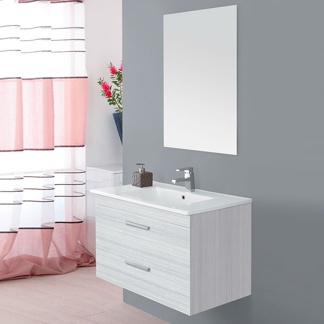 Feridras Arredo Bagno Suspended bathroom composition 81 cm with sink and mirror Stella L 81 cm