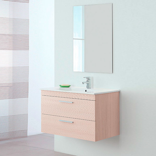 Composition Bathroom Cabinet suspended L 81 x H 51 cm with sink and mirror Stella Feridras Larch