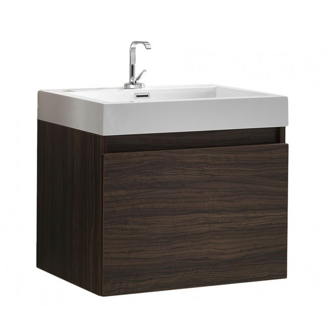 Tomasucci Bathroom cabinet with wall-mounted washbasin B018 L 60 x H 54 cm walnut finish