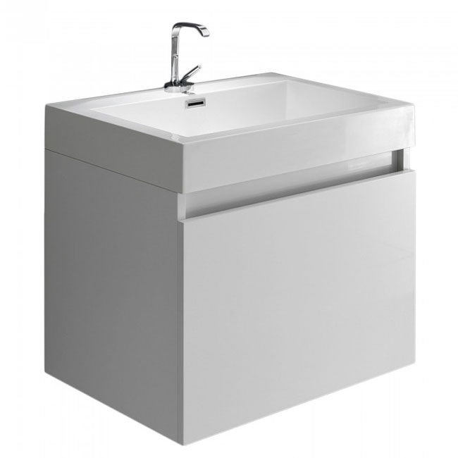 Tomasucci Bathroom cabinet with wall-mounted washbasin B016 L 60 x H 54 cm glossy white lacquered