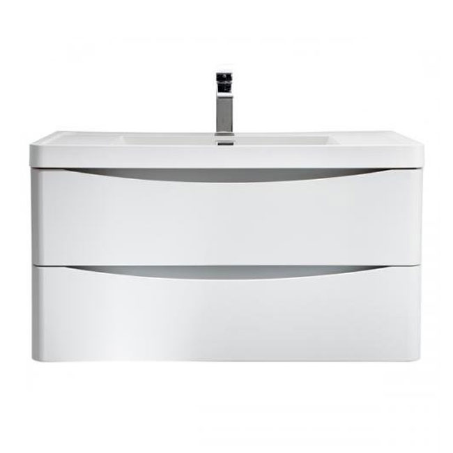 Tomasucci Bathroom cabinet with wall-mounted washbasin B064 L 90 x H 59 cm glossy white lacquered