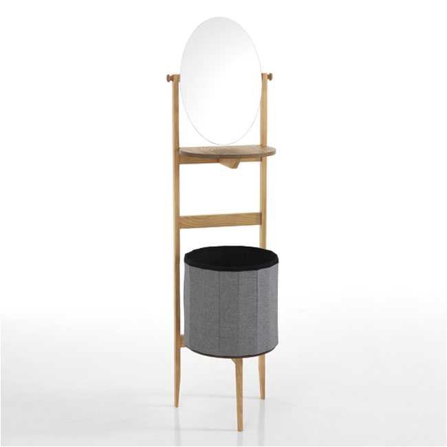 Tomasucci Column with mirror and linen holder Varm H 157 cm