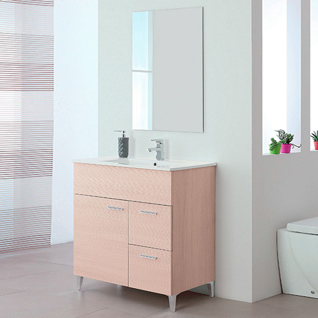 Feridras Arredo Bagno Suspended bathroom composition 81 cm with sink and mirror Stella L 81 x H 84 cm