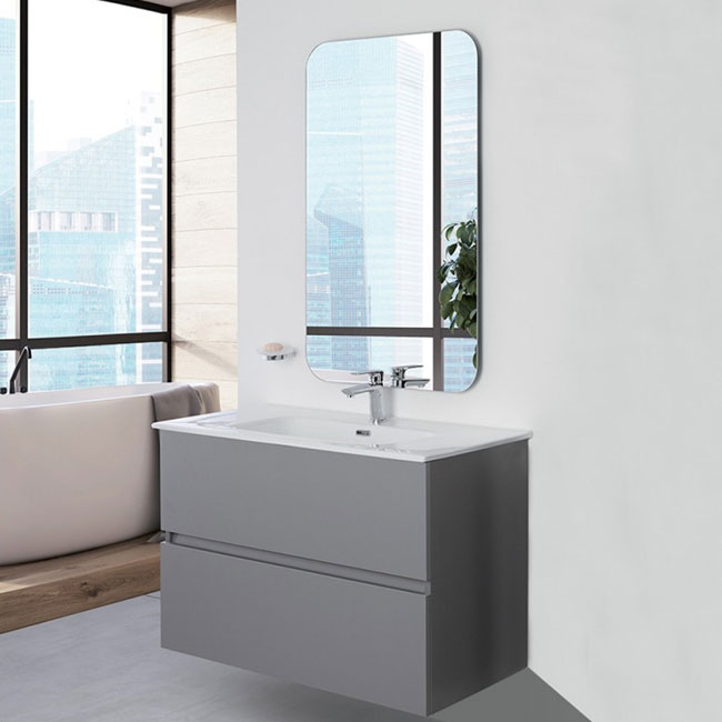 Feridras Arredo Bagno Suspended bathroom composition 90 cm with sink and mirror Pastello L 90 cm