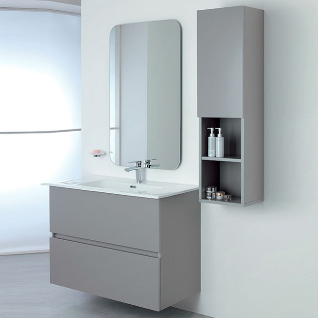 Feridras Arredo Bagno Suspended bathroom composition 90 cm with sink, mirror and hanging column Pastello