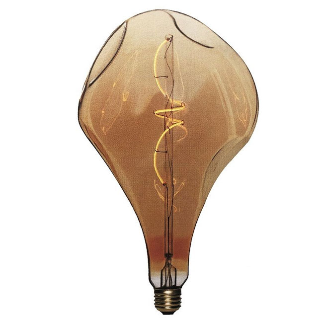 Bulb Vintage LED Filament Curved A165 Bumped 5W E27 2000K 220/240V Ø 16.5 cm gold dimmable DLItalia