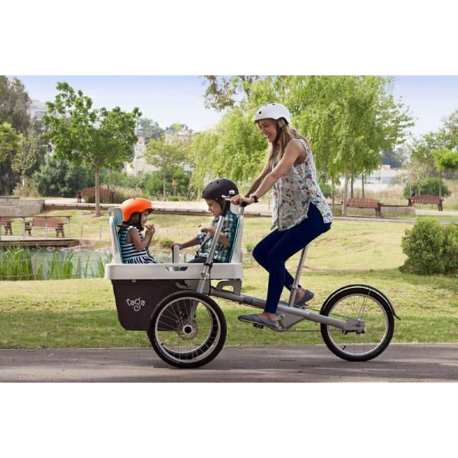 E-City Bike Taga 2.0 with two seats for children up to 9 years.