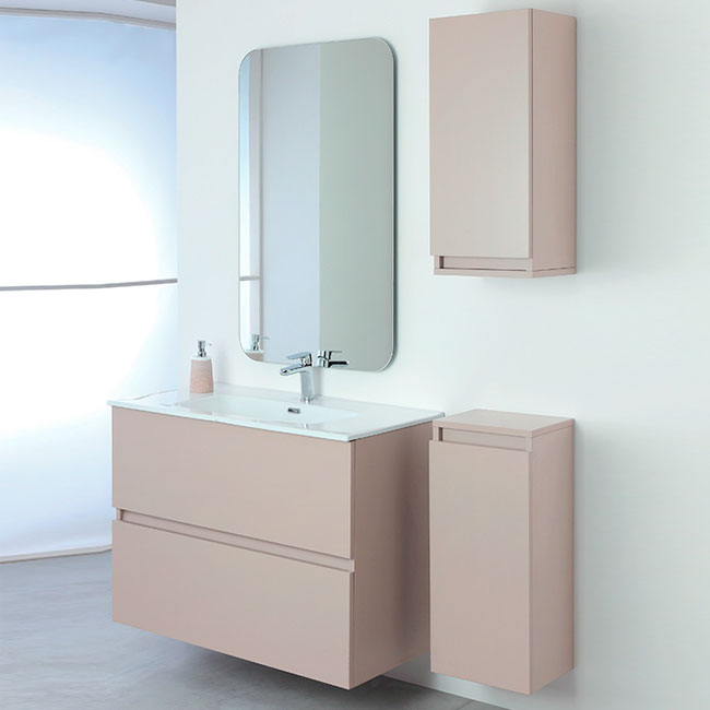 Feridras Arredo Bagno Suspended bathroom composition with sink, mirror and hanging column Pastello