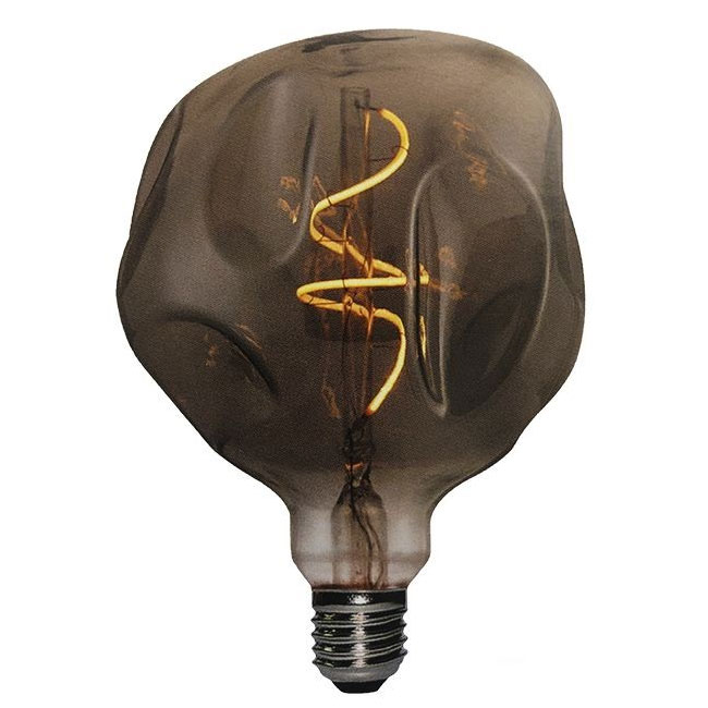 Bulb Vintage LED Filament Curved Globo Bumped 5W E27 2000K 220/240V Ø 12.5 cm smoked dimmable DLItalia