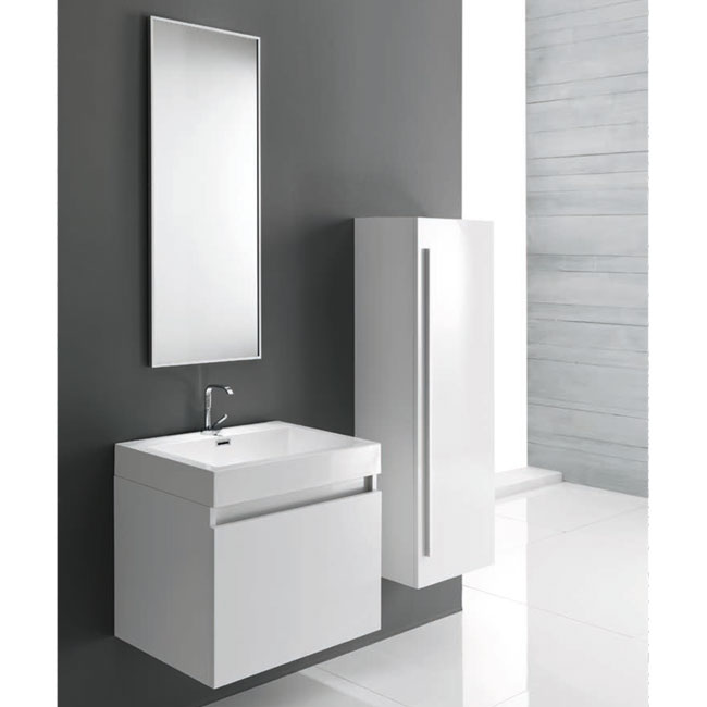 Tomasucci Composition Suspended bathroom with washbasin, mirror and glossy white lacquered column