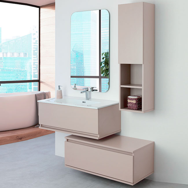 Feridras Arredo Bagno Suspended bathroom composition 90 cm with sink, chest of drawers, mirror and hanging column Pastello