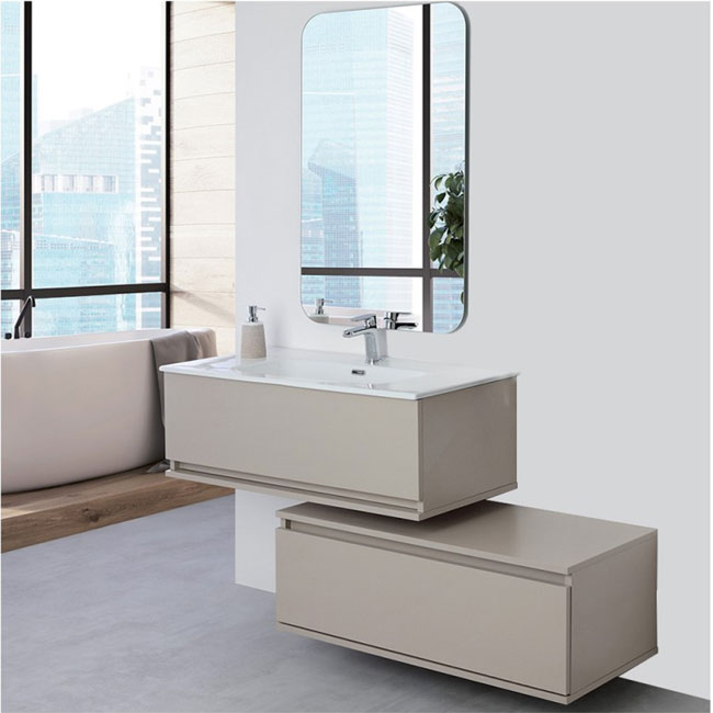 Feridras Arredo Bagno Suspended bathroom composition 90 cm with sink, chest of drawers and mirror Pastello L 90 cm