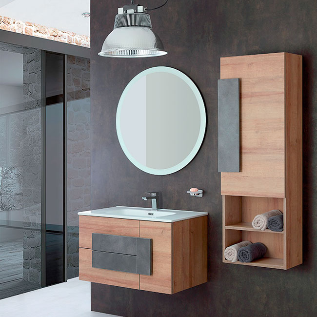 Feridras Arredo Bagno Suspended bathroom composition 80 cm with sink, mirror and hanging column
