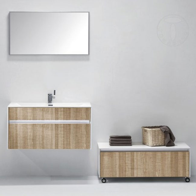 Tomasucci Composition Suspended bathroom with sink, mirror, cabinet with wheels.