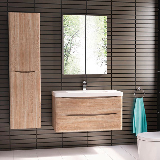 Tomasucci Composition Wall-hung bathroom with washbasin, storage mirror and tranchè Oak finish column