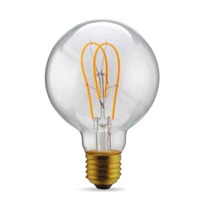 Bulb Vintage LED Filament Curved Clear G95 5W E27 2200K 220/240V Ø 9.5 cm clear dimmable DLItalia