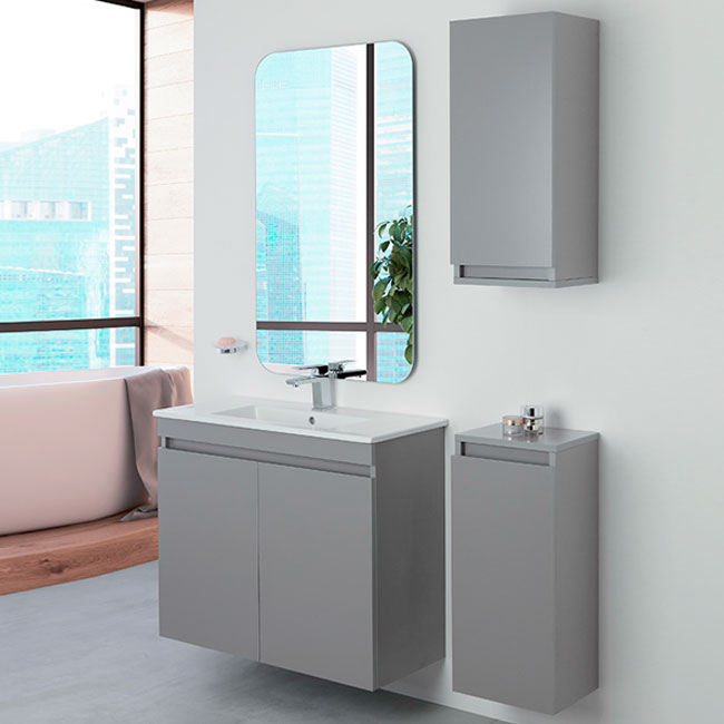 Feridras Arredo Bagno Suspended bathroom composition 80 cm with sink, mirror and hanging column Pastello
