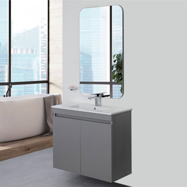 Feridras Arredo Bagno Suspended bathroom composition 80 cm with sink and mirror Pastello L 80 cm