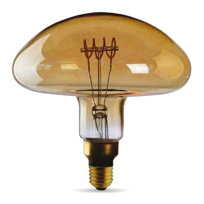 Bulb Vintage Led Filament Curved Fungo Led 5W E27 2000K 220/240V Ø 20 cm gold dimmable DLItalia