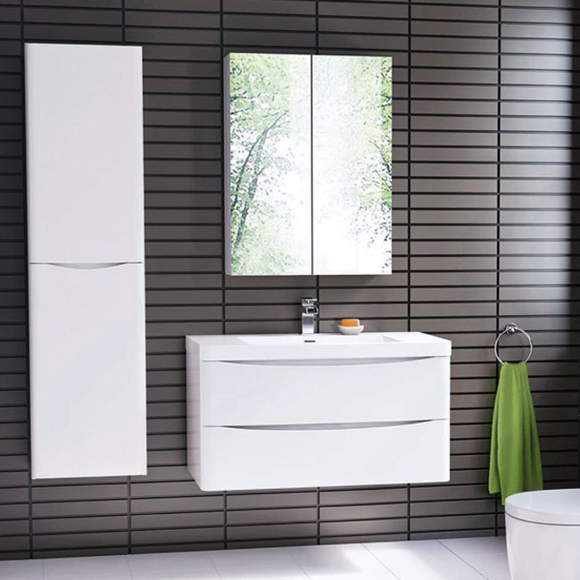 Tomasucci Composition Suspended bathroom with washbasin, storage mirror and glossy white lacquered column
