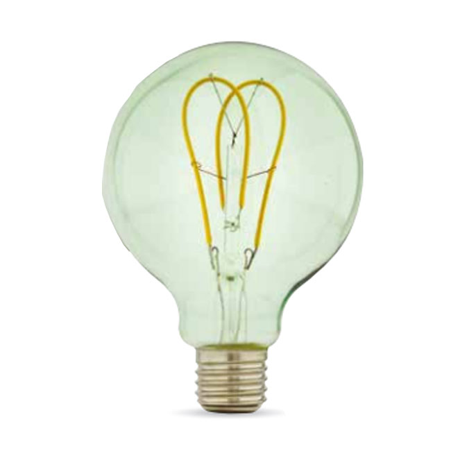 Bulb Vintage LED Filament Curved Smeraldo G95 5W E27 2200K 220/240V Ø 9.5 cm soft green dimmable DLItalia