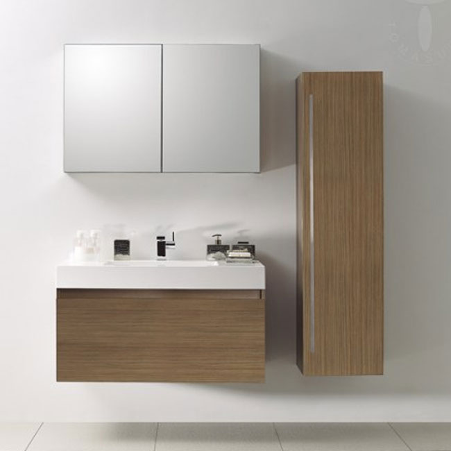 Tomasucci Composition Suspended bathroom with washbasin, storage mirror and teak finish column